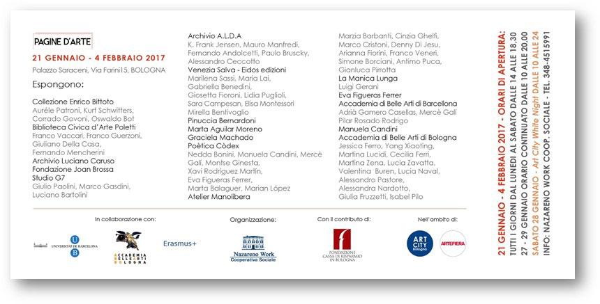 1891bbfc6325 PAGINE D ARTE - mostra 21 gennaio 2017 a Bologna - Banco Artigiano ...