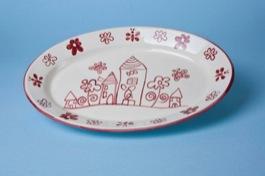 Piatto portata ovale ceramica decoro artigianale