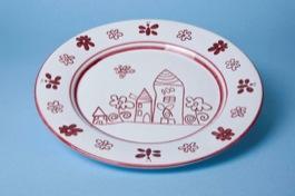 Piatto portata tondo ceramica decoro artigianale