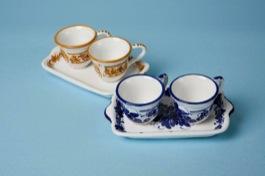 Servizio da caffè x 2 con vassoio ceramica romagnola