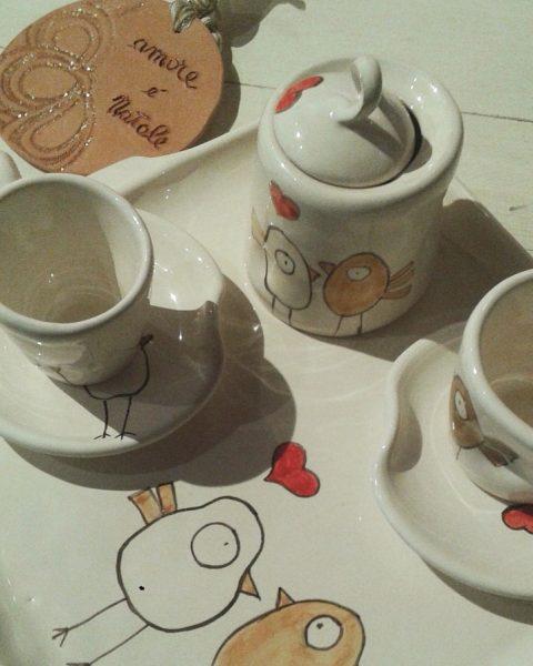 Set ceramiche decoro pulcini innamorati